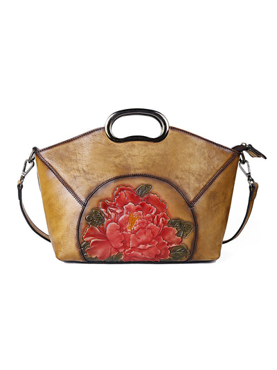 Vintage Print Brush Off Leather Zipper Handbag Ethnic Bag