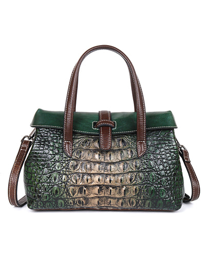 Crocodile Pattern Zipper Vintage Leather Shoulder Bag