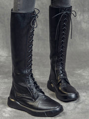 Winter Fall Flat Heel Mid-Calf Fleece Leather Riding Boots