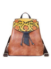 Ethnic Vintage Drawstring Color Block Leather Backpack Bag