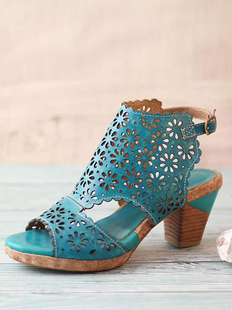 Fish Mouth Hollow Flower Buckle Summer High Heel Leather Sandals