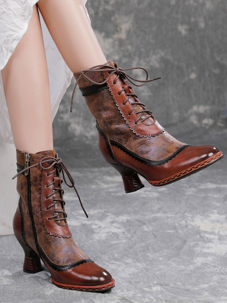 Vintage Pointed Lace-Up Front Toe Leather Heels