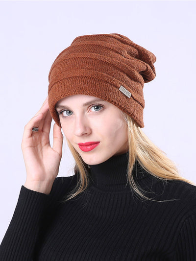 Jacquard Pleated European Winter Wool Knitted Hat