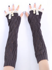 Jacquard Lace Button Fleece Knitted European Gloves