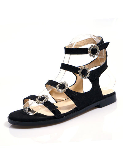 Rhinestone Summer Hasp Casual Flat Heel Plain Sandals