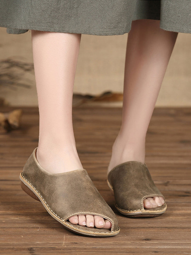 Vintage Flat Heel Slip-On Spring Leather Casual Sandals