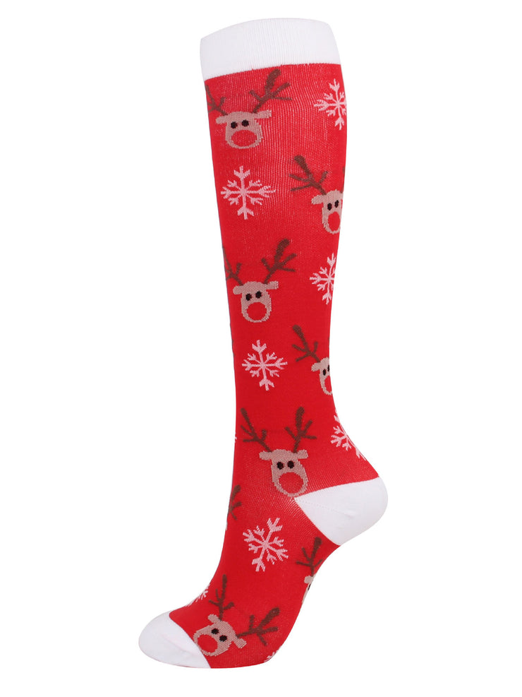 3 Pairs Sports Mid-Calf Jacquard Cartoon Nylon  Christmas Socks