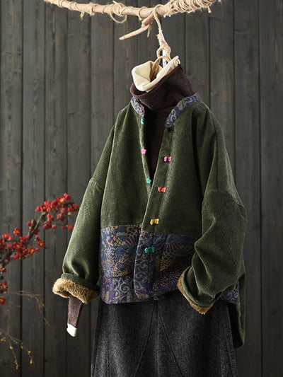 Ethnic Round Neck Print Fleece Loose Corduroy Winter Coat