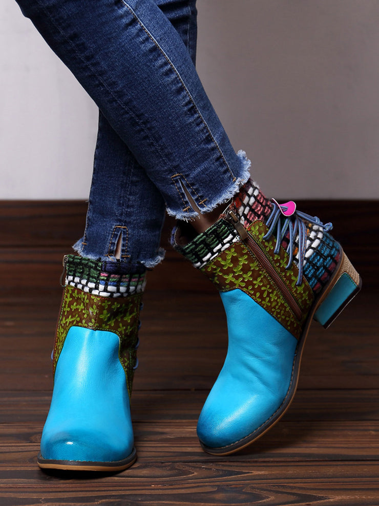 Chunky Heel Weave Jacquard Round Toe Leather Flat Fashion Boots