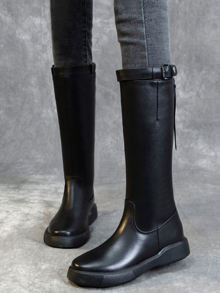 Mid-Calf Flat Heel Buckle Round Toe Leather Riding Boots