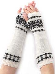 Winter Jacquard Korean Fleece Knitted Gloves