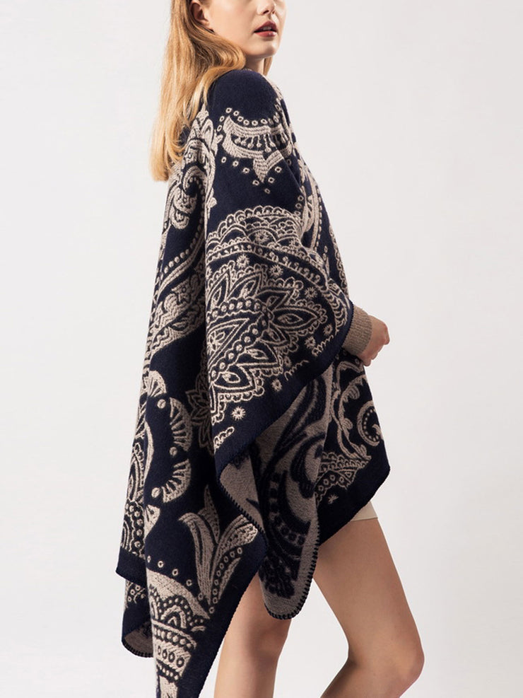 Mid-Length Flower Cape Jacquard Cashmere Winter Scarf
