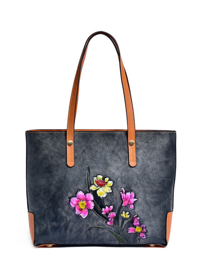 Print Flower Zipper Tote Vintage Leather Bag