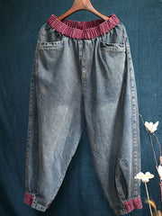 Fall Cotton Thick Casual Pocket Worn Harem Jeans