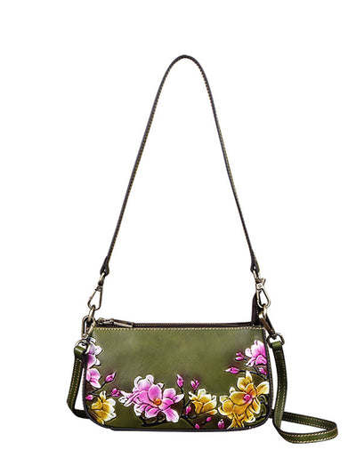 Shoulder Bag Vintage Print Brush Off Leather Bag