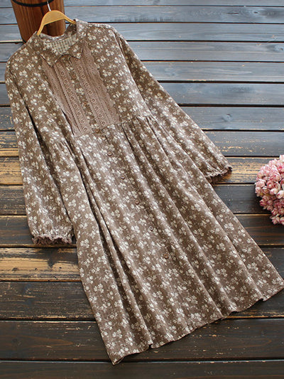 Embroidery Spring Floral Japanese Polo Neck Loose A-Line Dress