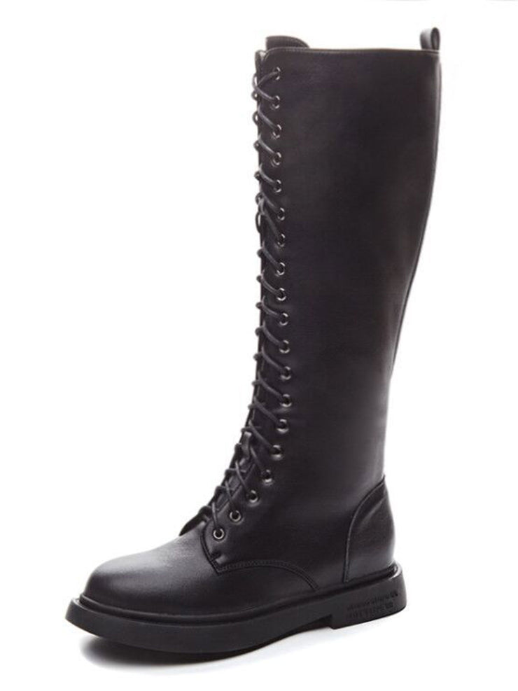 Knee-High Vintage Square Heel Casual Leather Riding Boots