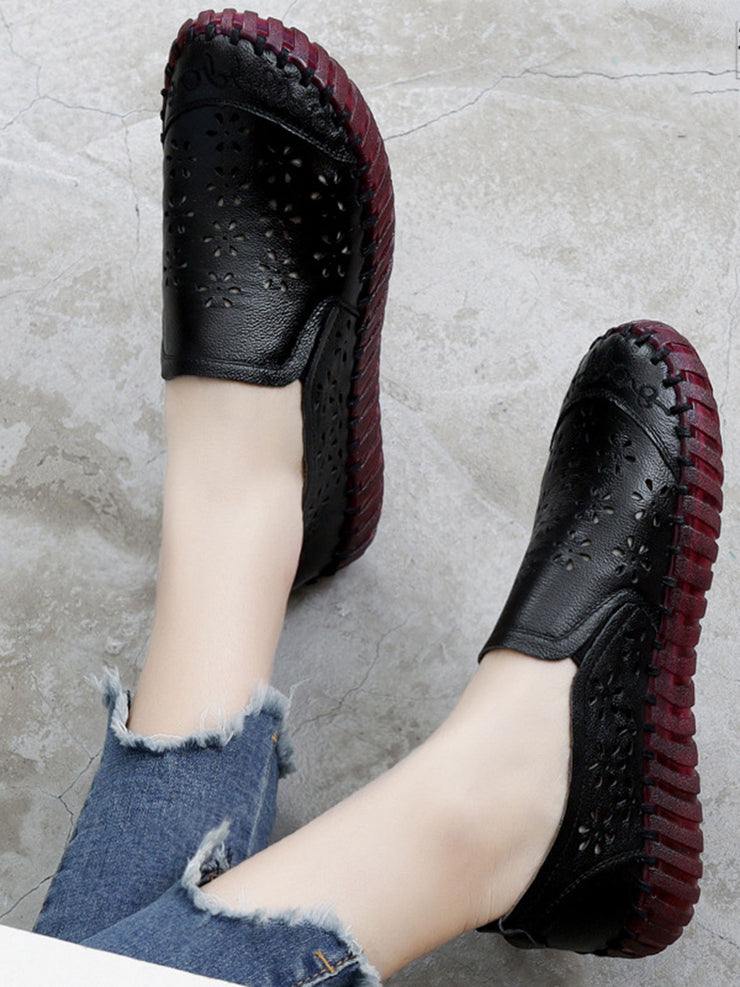 Slip-On Hollow Round Toe Vintage Casual Leather Flats