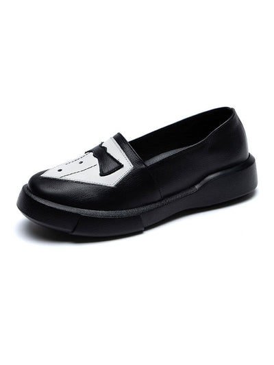 Spring Color Block Bowtie Casual Round Toe Leather Flats
