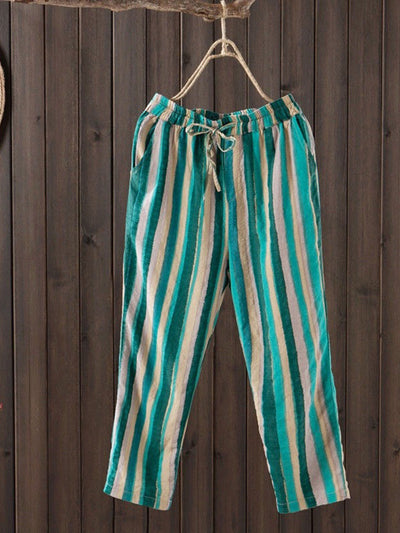 Vintage Stripe Loose Thin Worn Spring Summer Harem Pants