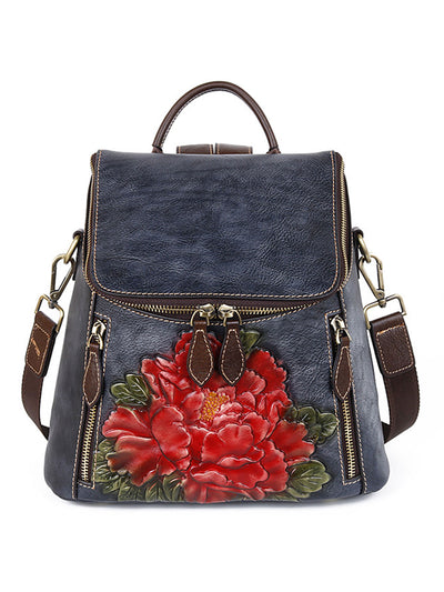 Casual Flower Backpack Zipper Plant Leather Vintage Bag