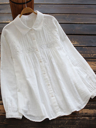 Lapel Embroidery Japanese Mid-Length Spring Loose Cotton Blouse