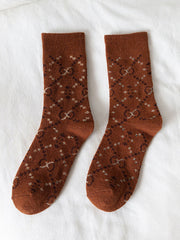 Vintage Winter Jacquard Mid-Calf Fleece Woolen Socks