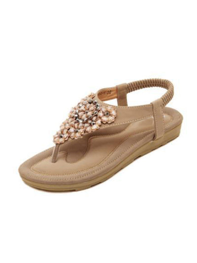 Summer Korean Beach Elastic Rhinestone Flower Flat Heel Sandals