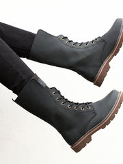 Platform Lace-Up Front Low Heel Round Toe Leather Martens Boots