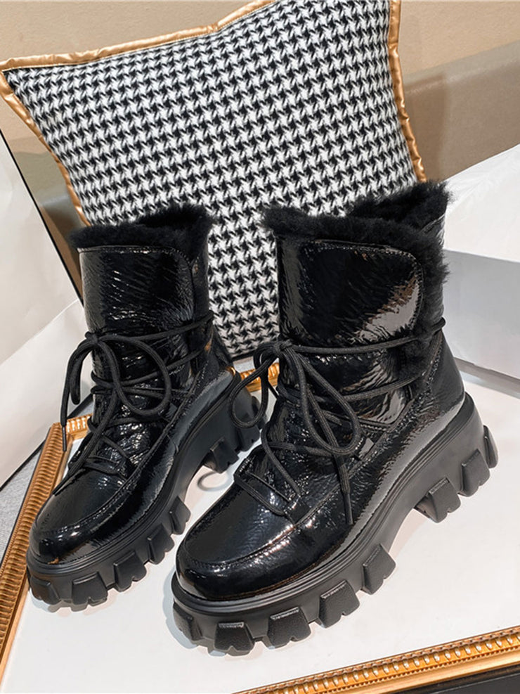 Winter Chunky Heel Warm Platform Snow Boots
