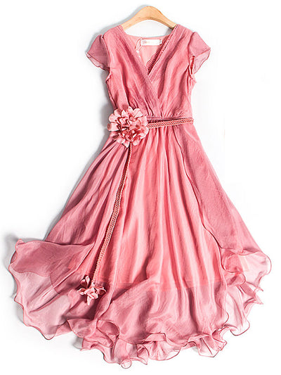 Sweet Flower Summer V-Neck Loose Ankle-Length Chiffon Dress