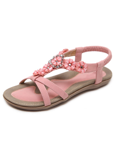 Summer Beads Flower Folk Style Elastic Flat Heel Sandals