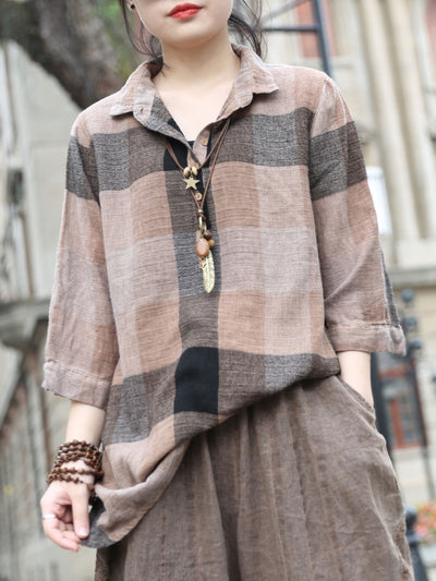 Spring Casual Plaid Long Sleeve Lapel Loose Single-Breasted Blouse