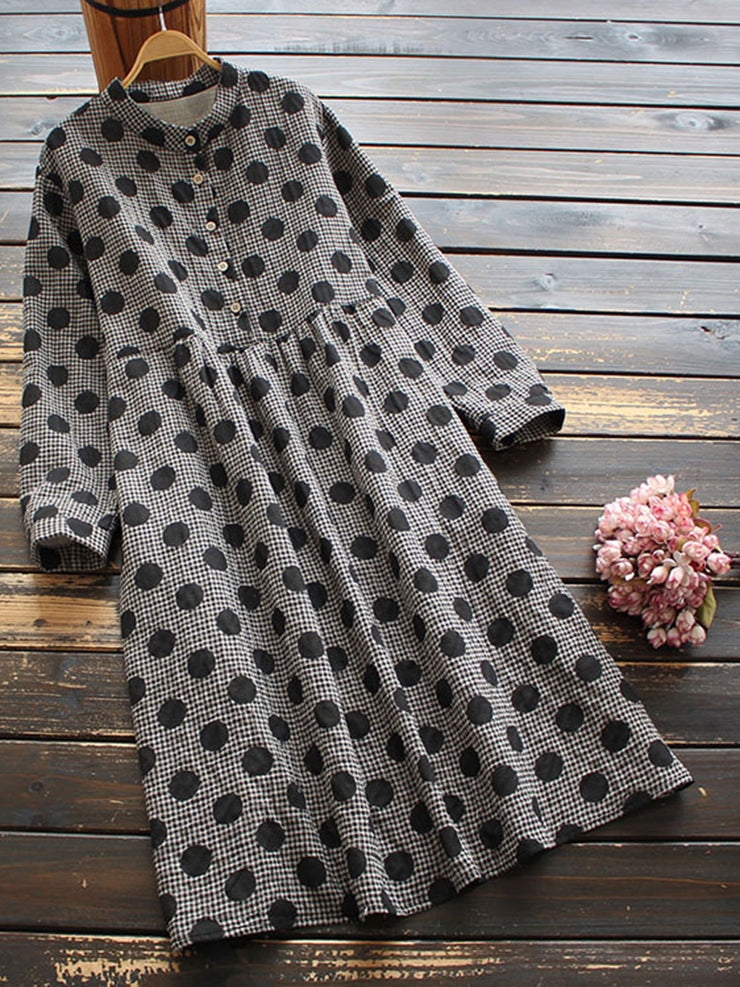 Stand Collar Polka Dots Spring Long Sleeve Cotton Fall Dress