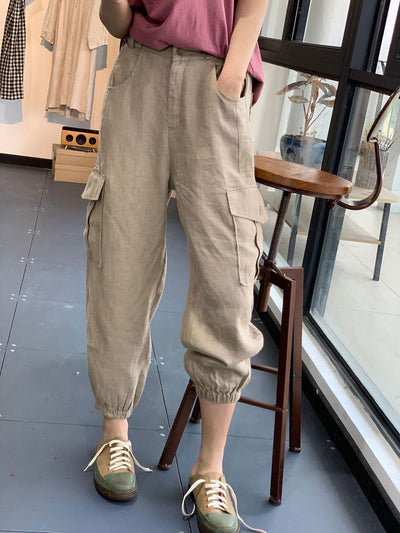 Casual Spring Summer Loose Pocket Fashion Korean Pants
