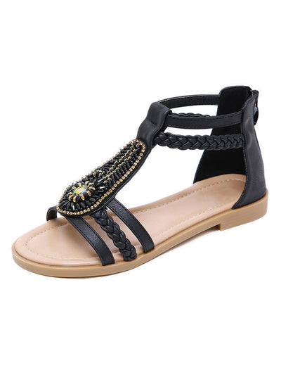 Summer Vintage Back Zip Round Toe Flat Heel Sandals
