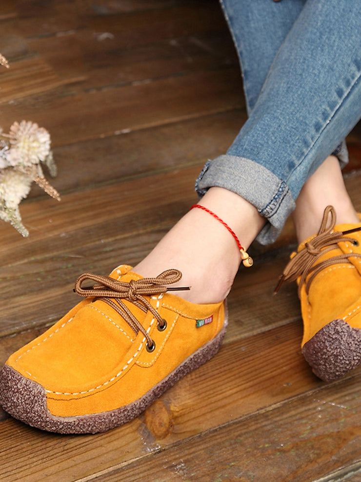 Round Toe Cross Strap Casual Flat Heel Summer Leather Flats