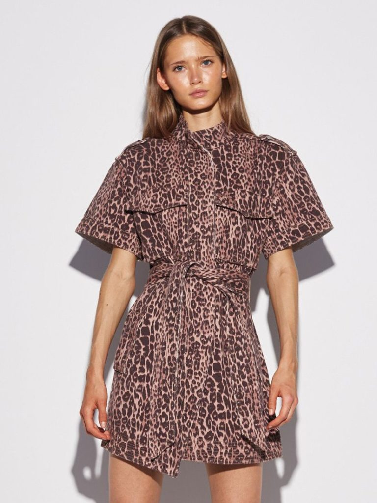 REITERATE DRESS BROWN LEOPARD C/MEO COLLECTIVE