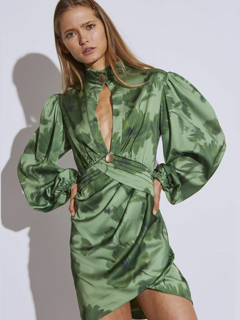 RENEW DRESS GREEN WASHED FLORAL by C/MEO COLLECTIVE