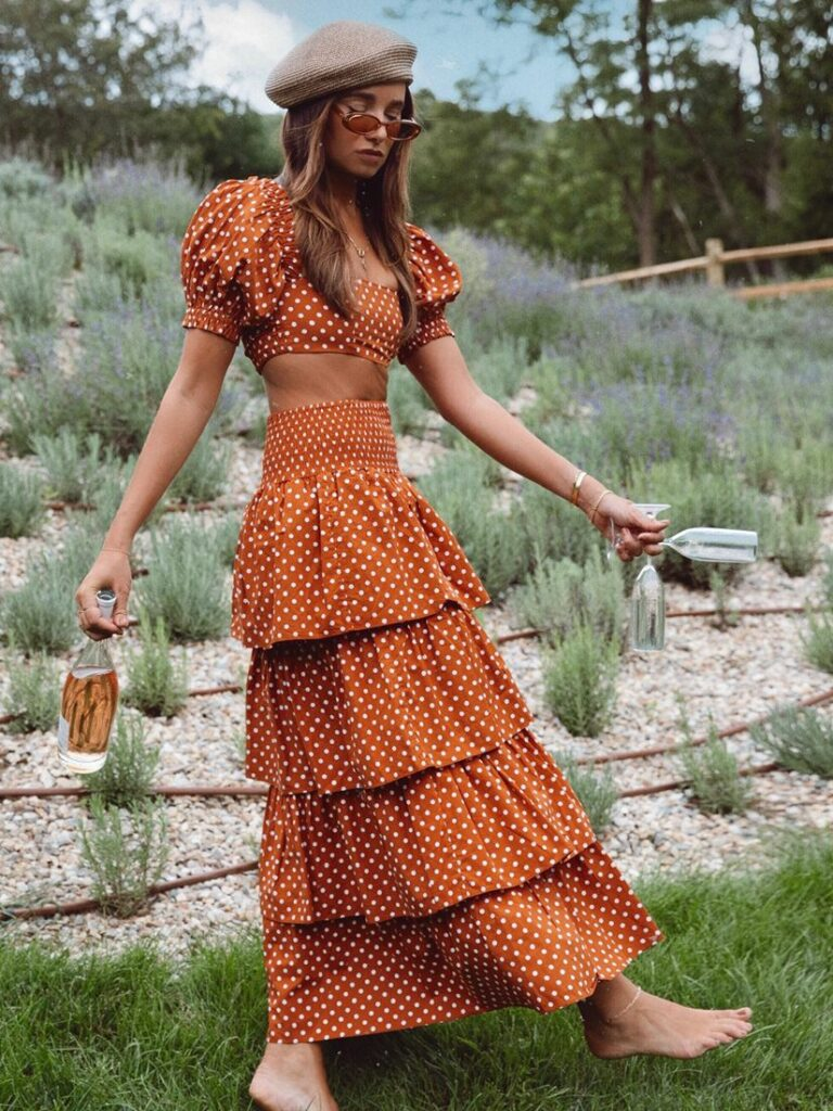 PALOMA SKIRT CAMEL POLKA by WE WORE WHAT