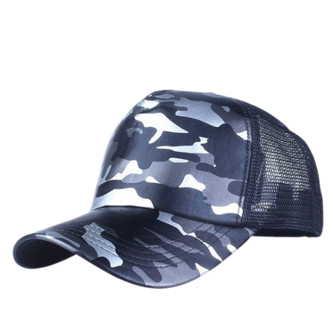 Xthree 5 panels summer baseball cap mesh cap faux leather Camouflage snapback hat men hip hop casquettes hats for women bone