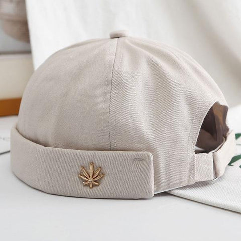 men-women-skullcap-sailor-cap-leaf-rivet-embroidery-warm-rolled-cuff-bucket-cap-brimless-hat-solid-color-adjustable-cotton-hats