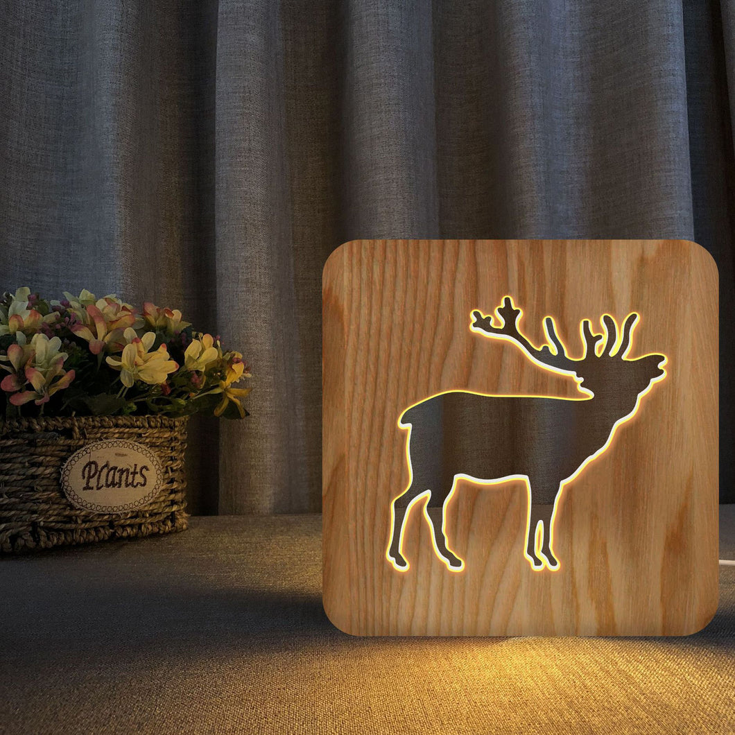 Wooden Christmas Reindeer Night Light