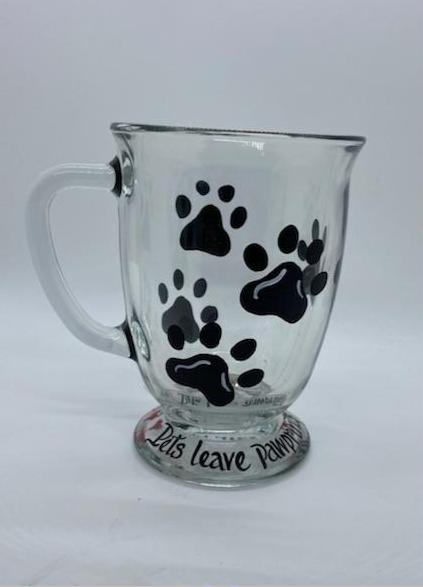 Paw Print Glass Mugs