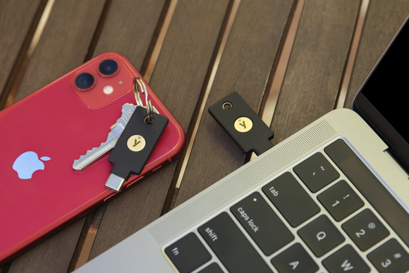 YubiKey 5Ci by Yubico on Keyring with Laptop and Phone