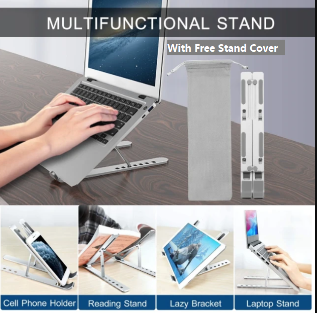 BI's Premium Aluminum Adjustable Laptop Stand With Free Stand Cover