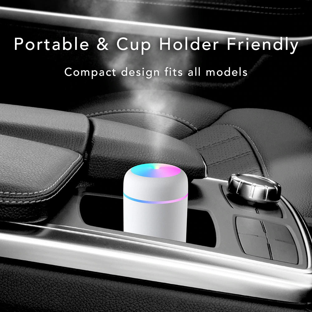Colorful Ultrasonic USB Lamp Air Humidifier Purifier Aromatherapy Essential Oil Diffuser Mister Portable Cup Holder Friendly