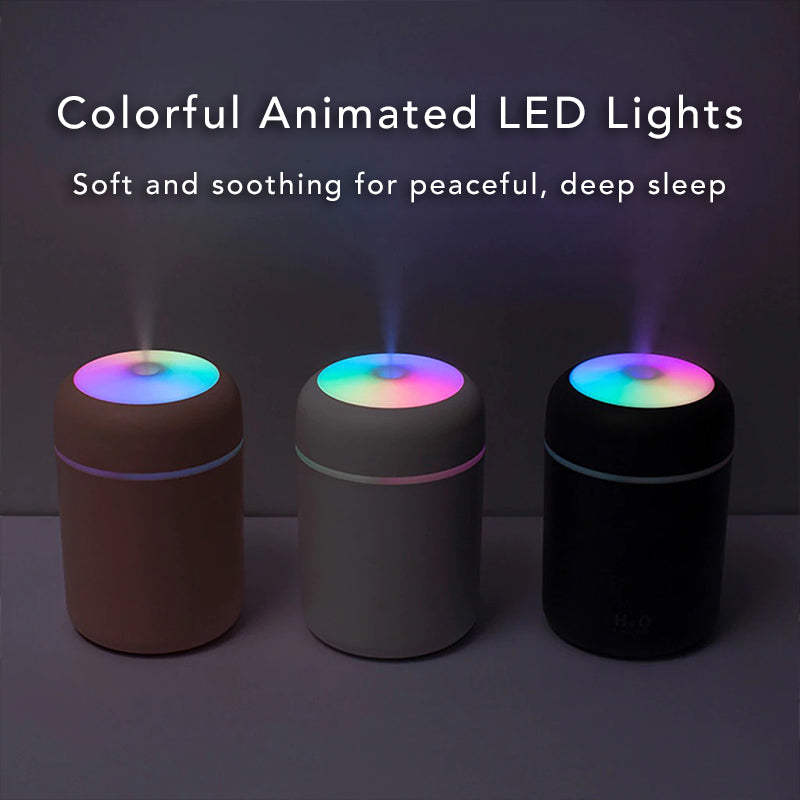 Colorful Ultrasonic USB Lamp Air Humidifier Purifier Aromatherapy Essential Oil Diffuser Mister Animated LED Lights Soft Soothing Peaceful Deep Sleep