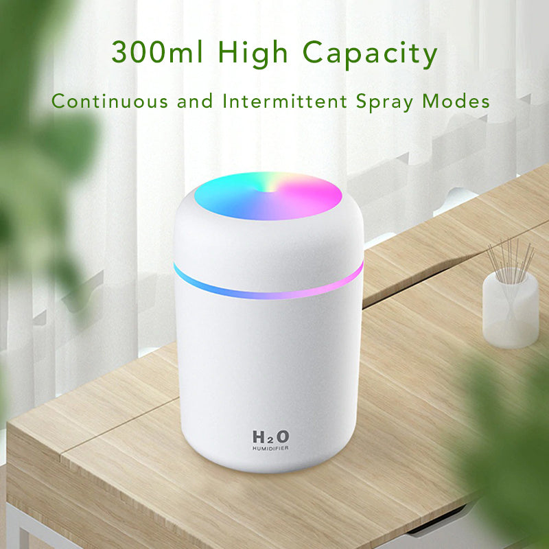 Colorful Ultrasonic USB Lamp Air Humidifier Purifier Aromatherapy Essential Oil Diffuser Mister 300ml High Capacity Continuous Intermittent Spray Modes
