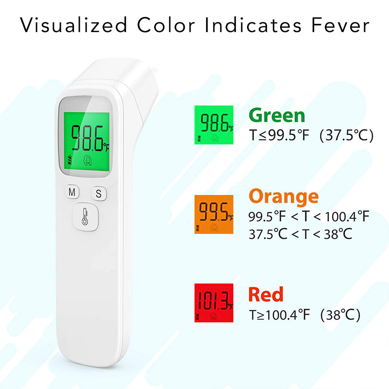 Infrared Portable No Contact Digital Thermometer Gun LCD Screen Electronic Accuracy Sensor Probe Fever Alerts Color LCD Indicator